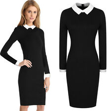 Womens Ladies Black Vintage Office Party Doll Collar Bodycon Pencil Career Dress