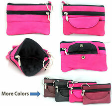 Leather Women Ladies Girls Zipper Bag Money Cards CoinsPurse Wallet with keyring