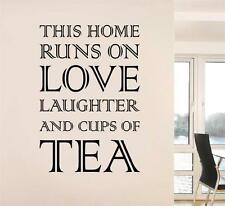 THIS HOME RUNS ON TEA Decal WALL STICKER Quote Home Decor Art Laughter Love SQ79