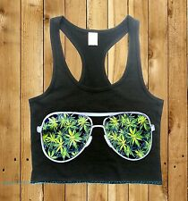 Junior's Weed Leaf Glasses Fitted Cropped Tank Top blunt dope 420 rave kush high