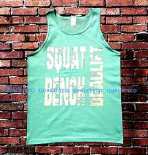 Men's Squat Bench Deadlift Mint Green Tank Top MMA Workout Boxing gym vest tee