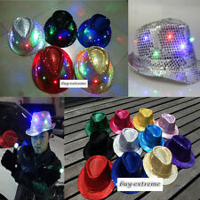 11 Color Cool LED Flashing Sequins Light Up Fedora Jazz Cap Hat Party Birthday