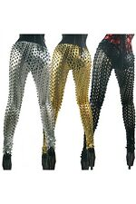 Metallic Lame Cut Out 3D Leggings. Gold and Black