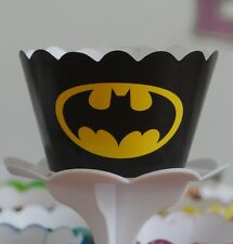 "12 Boys Bday Party ""BATMAN"" Cupcake Wrappers - WORLDWIDE FREE SHIPPING"