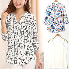 Fashion Blouses + Halter Top Womens Floral Geometric Printed 3/4 Sleeve T-shirts