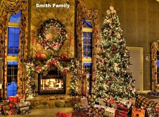 Christmas tree fire place personalized poster holiday wall art room home decor