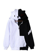 Projectile Round Dance Sweater Zipper Black White Bear Hooded Tops Thick Coat