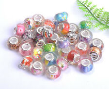 New Mixed Acrylic FACETED Silver Plated Beads&core Fit Charms Bracelets 14MM