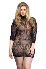 Full Figure Floral Lace High Neck Mini Dress