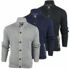 Dissident Cardigan 'Wyverstone' Ribbed Cotton Funnel Neck Knit Jumper Mens