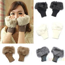 Womens Girls New Popular Rabbit Fur Hand Wrist Warmer Winter Fingerless Gloves