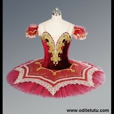Professional Classical Ballet Tutu Spanish Dance Red/Gold Assemble Dance Costume