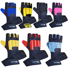 Weight Lifting Gloves Leather Body Building Gym Fitness DOUBLE LONG STRAP Gloves