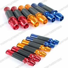 "MOTORCYCLE ALUMINUM RUBBER HAND GRIPS FOR 7/8"" HANDLEBARS SPORTS BIKES BAR END"