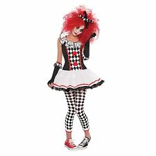 Halloween Harlequin Honey Ladies Fancy Dress Jester Clown Costume Sizes 8-16