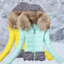 Hot! women's winter coat fur collar hooded cotton jacket coat jacket stitching