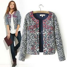 Women Vintage Ethnic Embroidered Floral Print Quilted Jacket Coat Cardigan HC