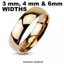 WOMEN Glossy Mirror Polished Rose Gold IP Dome Band Ring 316L Stainless Steel