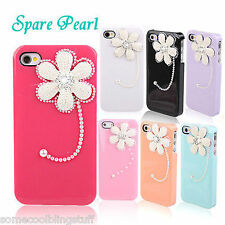 BLING DELUX WHITE PINK BLACK FLOWER DIAMANTE SPARKLE CASE COVER 4 IPHONE 5 5S