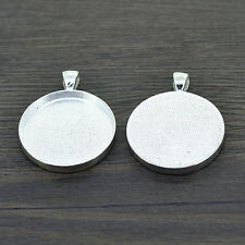 DIY 10X Silver Plated Necklace Pendant Setting cabochon  Tray For 25mm/30mm