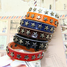 Mens Womens Goth Punk Star Studs Rock Real Leather Cuff Bracelet Wristband Gift