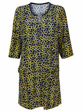 NEW PLUS SIZE EX CHAINSTORE 3/4 SLEEVE YELLOW FLORAL PRINT DRESS TUNIC 16-28