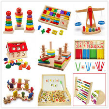 Colorful wooden educational toy numbers alphabet color shape maths learning toy
