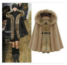 Girl Chic Winter Warm Faux Hot Fur Collar Hood Cape Thicken Wool Bat Cloak Coat