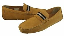 Bally Mens Wabler Brown Tan Slip-on Casual Drivers Loafers Driving Driver Shoes