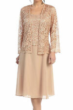 New Long Sleeve Floral Lace Jacket Sleeveless Chiffon Formal Dress Suit Gold