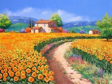 HD Print Oil painting Landscapes Sunflower field Picture on canvas L005