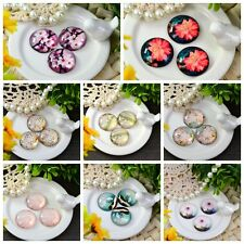 10X HOT! Flower Photo Round Glass Dome Cabochon Cab 10/12/14/16/18/20/25/30mm