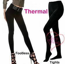 Womens Black Thermal Fleece Lined Tights Ladies Thick Winter Black Leggings New