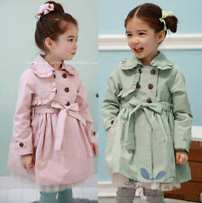 Newest Fashion Kids Toddler Girls Clothes Belt Dustcoat Coat Outerwear Sz4-9Y