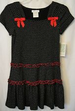 Bonnie Jean 84511  Black Dress With White Dots & Red Bows Girl's Plus S 12.5 NWT