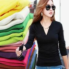 NEW WOMEN BASIC V NECK LONG SLEEVE FITTED PLAIN TOP SOLID STRETCH T SHIRT S-M