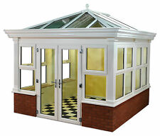 4.5m x 4.5m White UPVC Orangery Style Conservatory Synseal Global Summer Roof