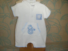 Baby boy 'cow over the moon' waffle sleep play suit, blue trim, adorable w/ hood