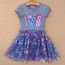 New Girls My Little Pony Dresses Kid's Tutu Dress Short Sleeve Clothes Age2-6X