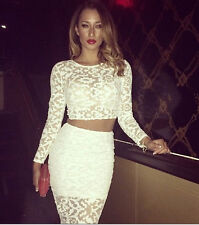 2 piece Skirt Set Lace Long Sleeve Crop Top + Skirt Set Suit Sexy Bodycon Dress