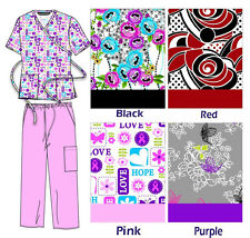 New Nursing Scrub Sets Pant and Top with Tie back Sizes XS S M L XL
