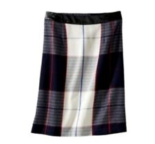 Womens Merona Tartan Plaid Pencil Skirt Faux Leather Waist NWOT