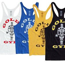 Golds Gym Singlet | Stringer | Tank Top | Vest Mens World Gym Y back racerback