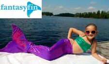 FANTASY FIN SWIMMABLE KID'S MERMAID TAIL with MONOFIN - SPARKLY PURPLE