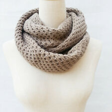 Women Warm Infinity 2 Circle Cable Knitted Cowl Neck Long Winter Scarf 2 Colors