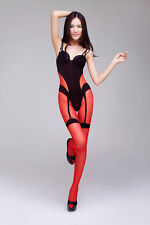 SEXY CROTCHLESS SHEER & OPAQUE RED & BLACK BODYSTOCKING LINGERIE BODYSUIT 8-14
