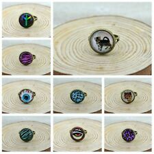 1X  Antique Brone Tone Ring Mix Animal Flower Tree Lovers Glass Cabochons Image