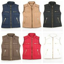 Women Quilted Warm Outwear Gold Zipper W/Pocket Padded Junior Vest  S/M/L(088)
