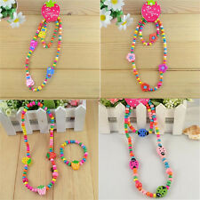 Cheap Childrens Jewelry Cute Girl ButterFly Wood Bead Necklace Bracelet 1Sets IN