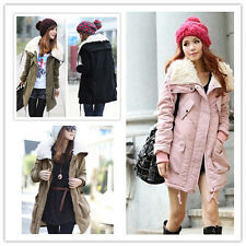 Women Thicken Fleece Warm Winter Coat Hood Parka Zip Overcoat Long Jacket Hot
